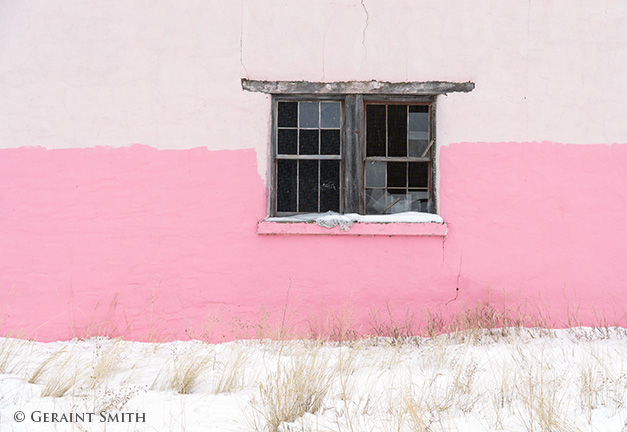 window pink wall snow