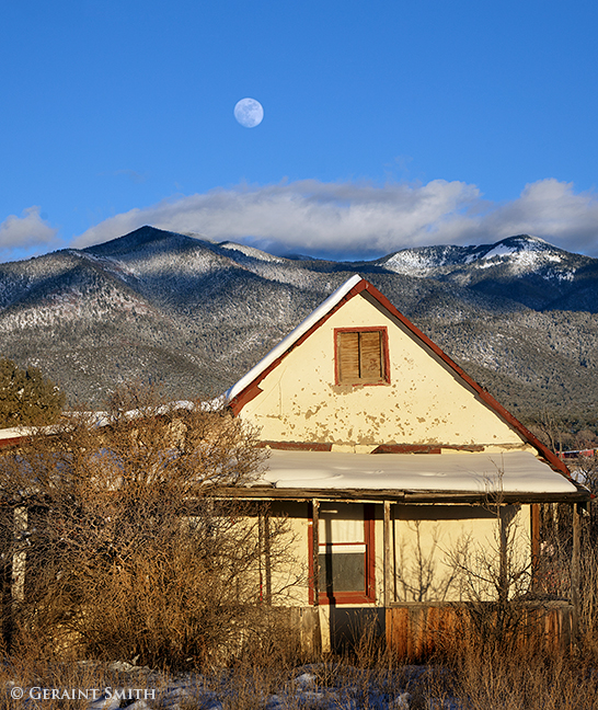 Winter Moon and old homestead San Cristobal Valley