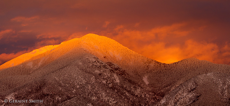 sunset on taos mountain