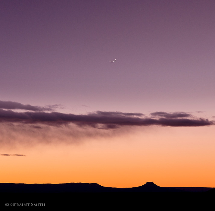 Crescent Moon set over Cerro Pedernal