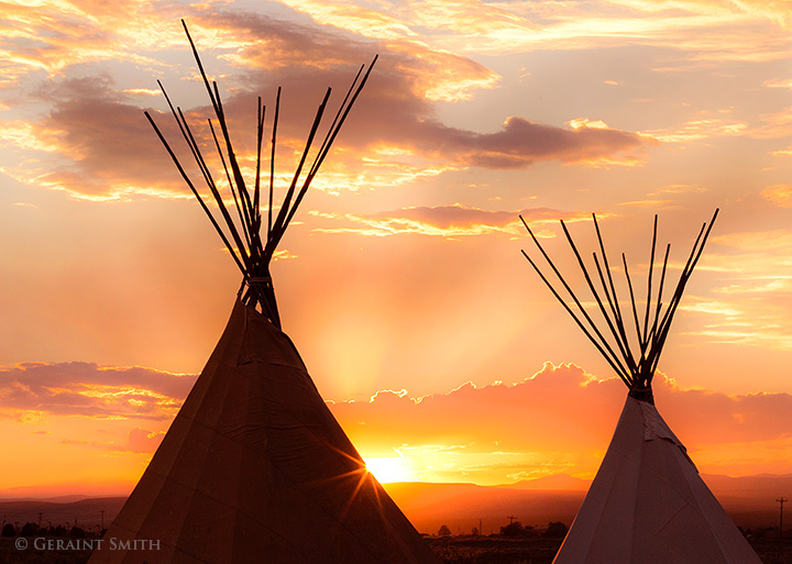Taos Tipis Sunset New Mexico