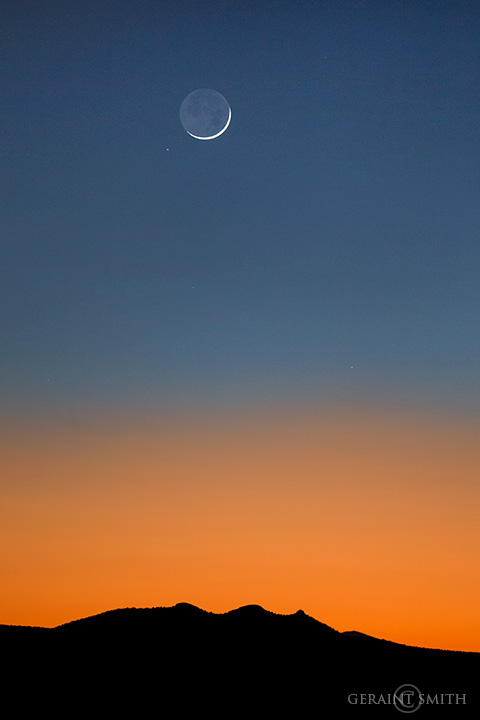 Three Peaks Sunset Crescent Moon