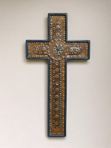 Crosses, blue and black punched, steel inlay
