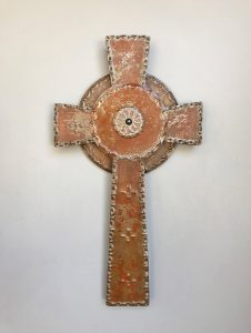 Cross celtic punched rusted steel overlay, rubbed blue