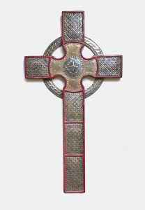 Cross celtic punched rusted steel stain rubbed red