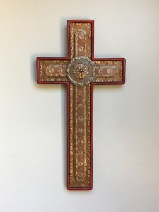 Crosses, red punched, steel inlay