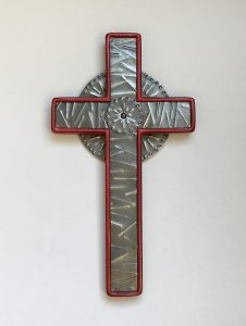 Cross celtic red with punched steel inlay