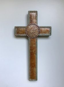 Cross sage green inlay punched steel
