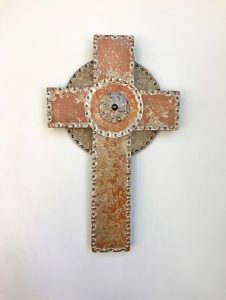 Cross, punched steel overlay sage green