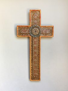 Crosses, red and yellow punched, steel inlay