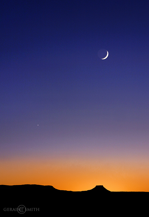 Cerro Pedernal Sunset, Crescent Moon, Venus