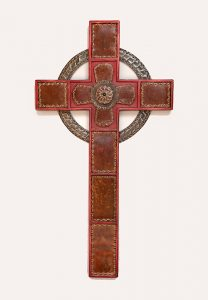 Cross celtic red punched steel inlay