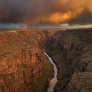 Fine art prints, Rio Grande Gorge storm and rainbow