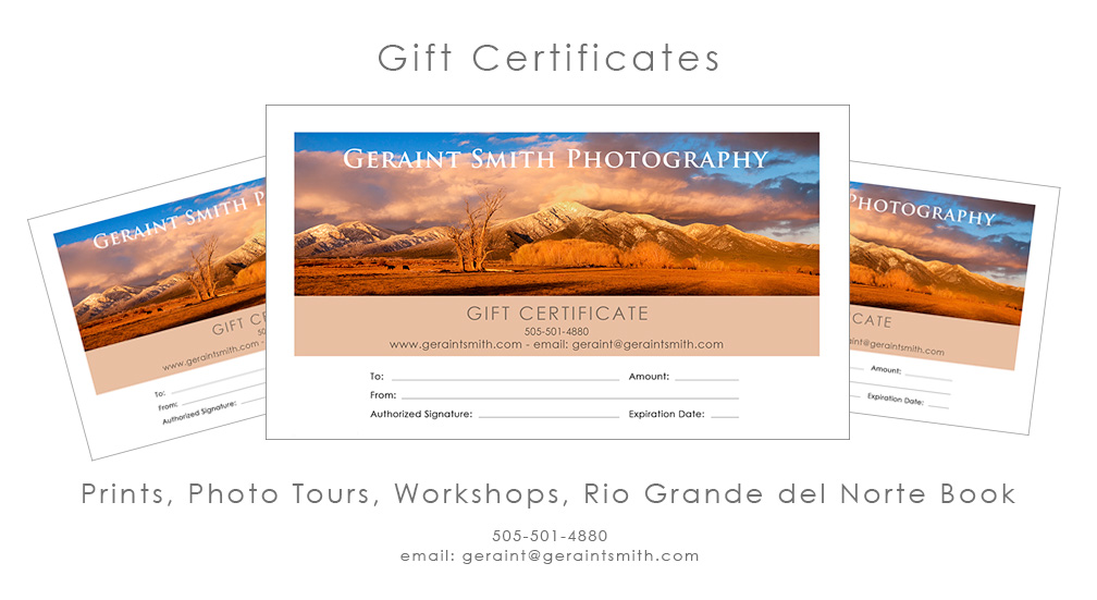 Prints, Photo Tours, Books, Gift Certificates