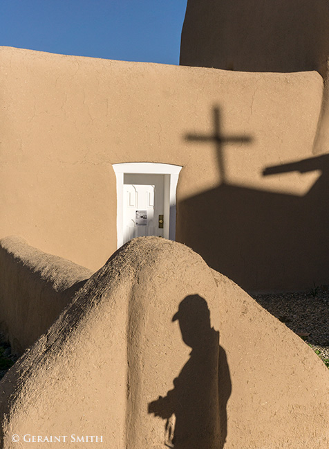 photographers shadows at the st francis church ranchos de taos