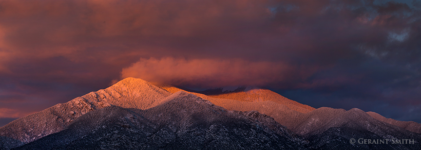 Sunset on Taos Mountain and a little Sangre de Cristo