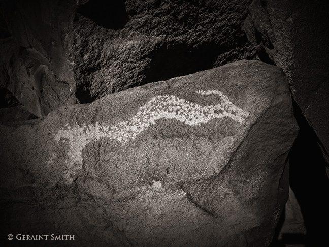 Avanyu, sea serpent petroglyph along the Rio Grande