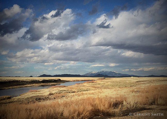 northern Rio Grande with Blanca Peak Range of the southern Rockies, Colorado.