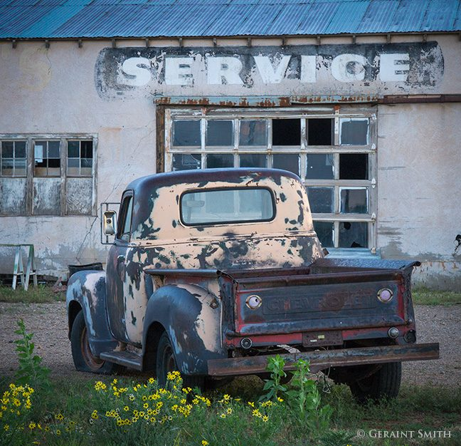 service station and a chevy truck