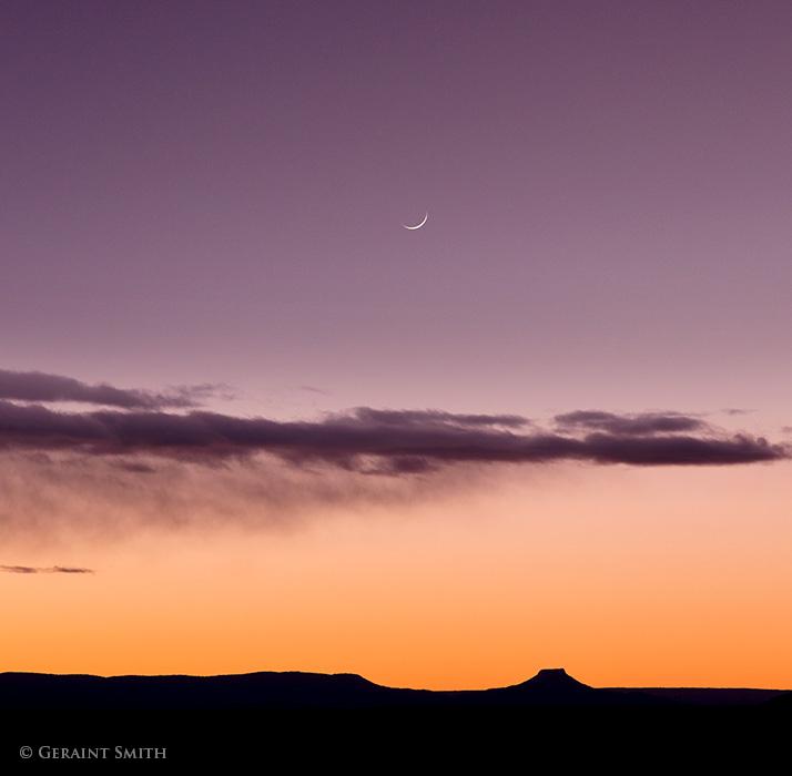 Crescent Moon set over Cerro Pedernal