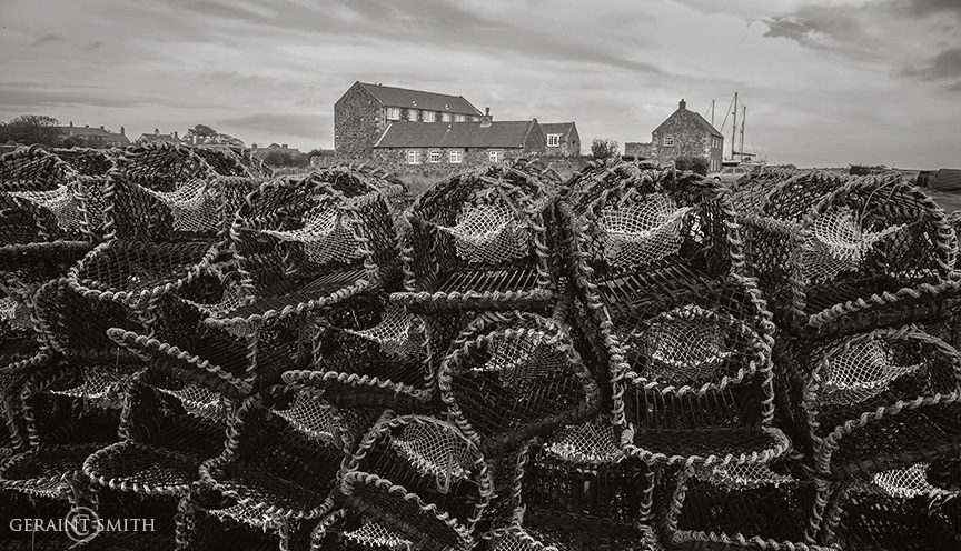 lindisfarne_stone_red_roof_buildings_lobster_pots_bw_7169-4363894