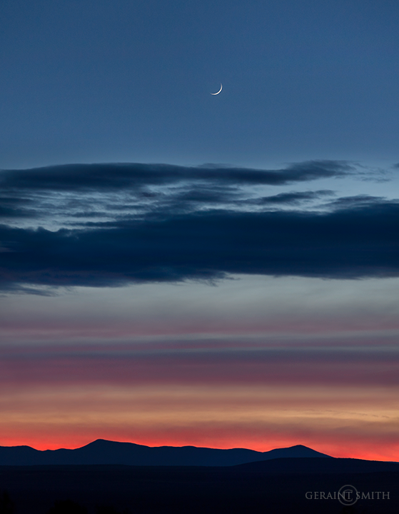 Jemez Mountains Sunset, Crescent Moon