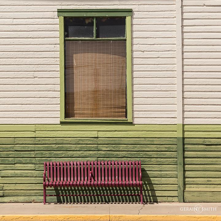 Bus bench and building Farmington New Mexico