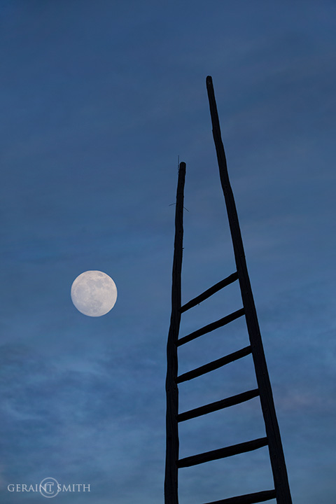 New Years eve ladder and moon rise