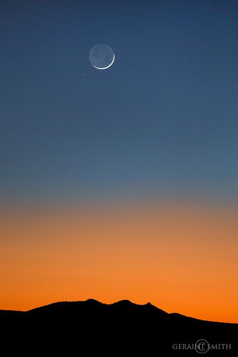 Three Peaks Sunset Crescent Moon