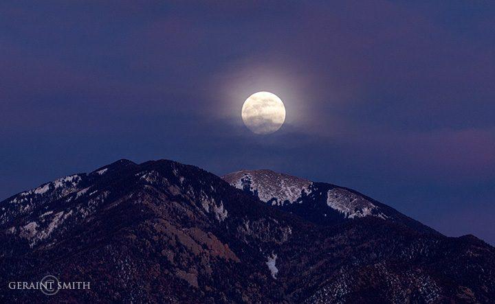 Super Moon Rise Over Taos Mountain