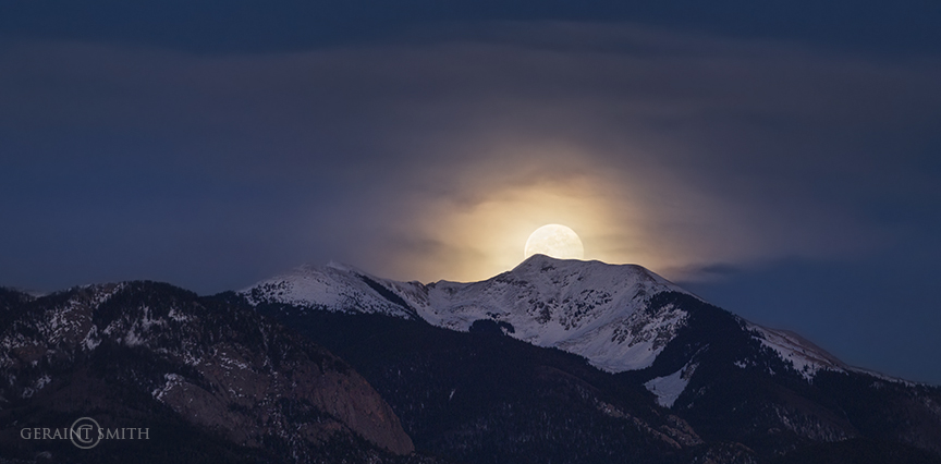 Full Moon Rise Over Vallecito Peak Taos, NM