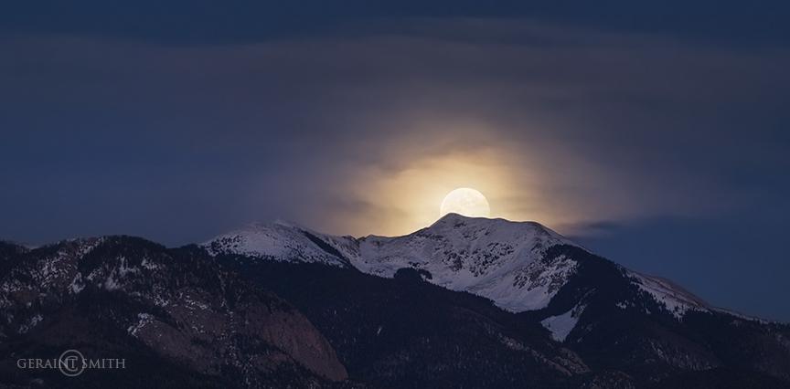 Full Moon Rise Over Vallecito Peak Taos, NM