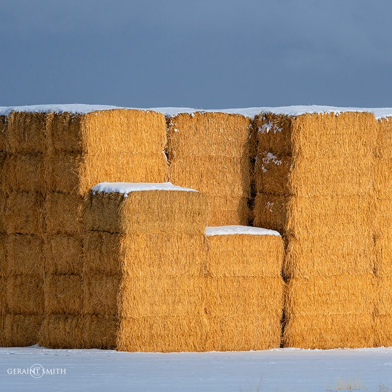 Winter Light, Hay Bales, Snow