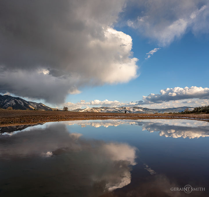 Roadside Reflections, Taos Mountain Clouds