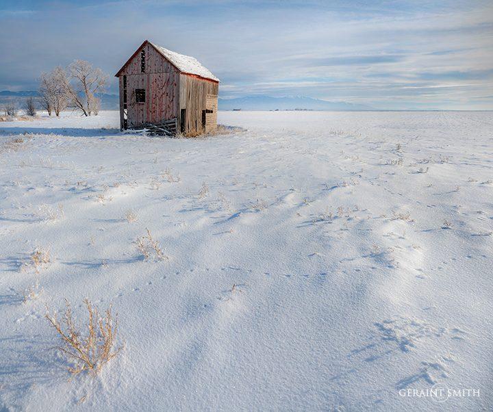 Winter Field, Red Barn, San Luis Valley
