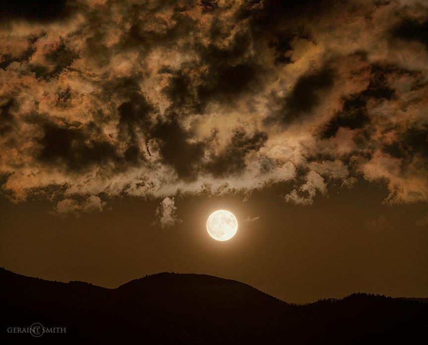 Harvest moon rise, Sangre De Cristos, NM.