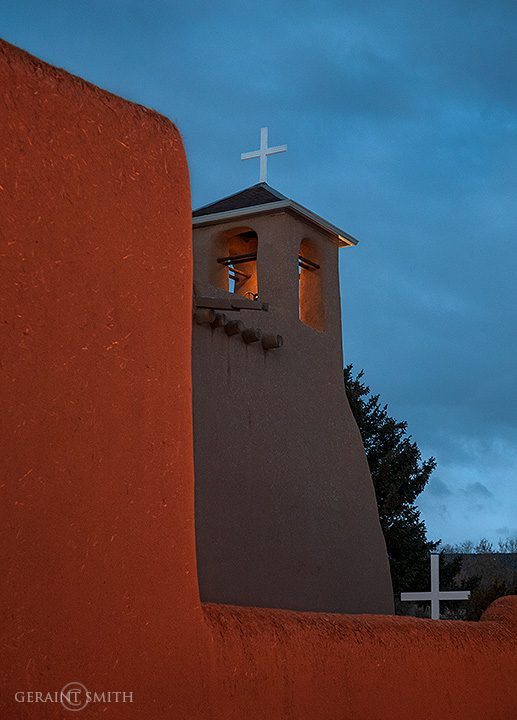 Saint Francis Church. Basking in the glow of the street light
