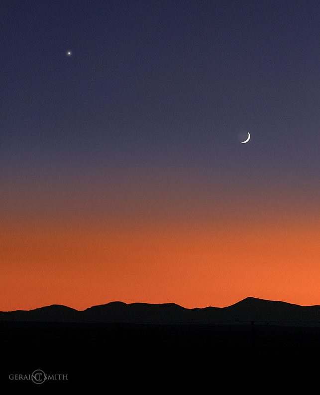 Jemez Mountains, Crescent Moon, Venus