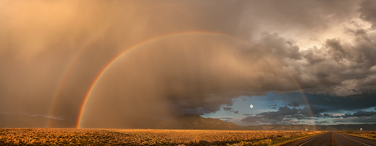 Taos mountain rainbow and Harvest moon