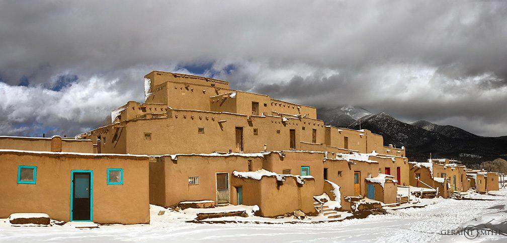Taos Pueblo, Taos Mountain, Snow