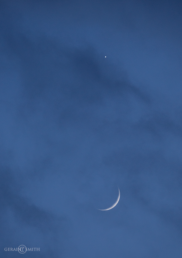 Venus and crescent moon conjunction