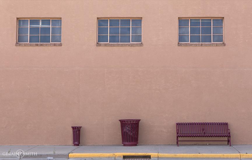 Bus Bench, Trash Cans, Windows, Farmington, NM