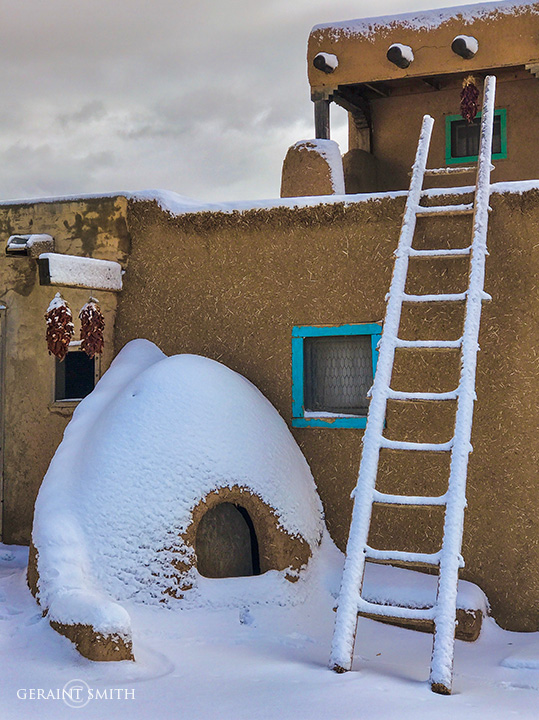 Horno (oven), ladder, snow, red chiles, adobe