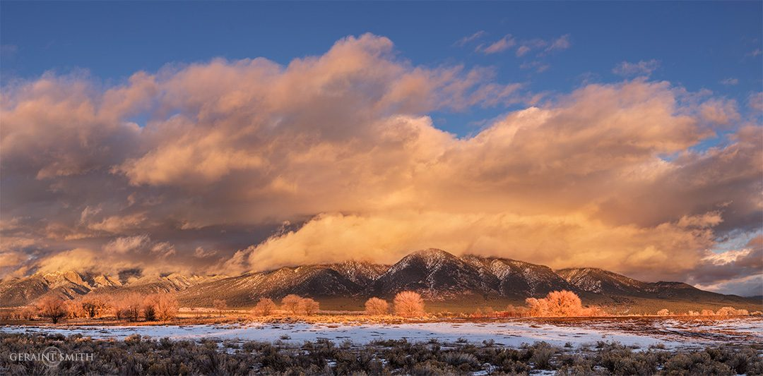 Taos Mountain, sunset clouds, daily commute.