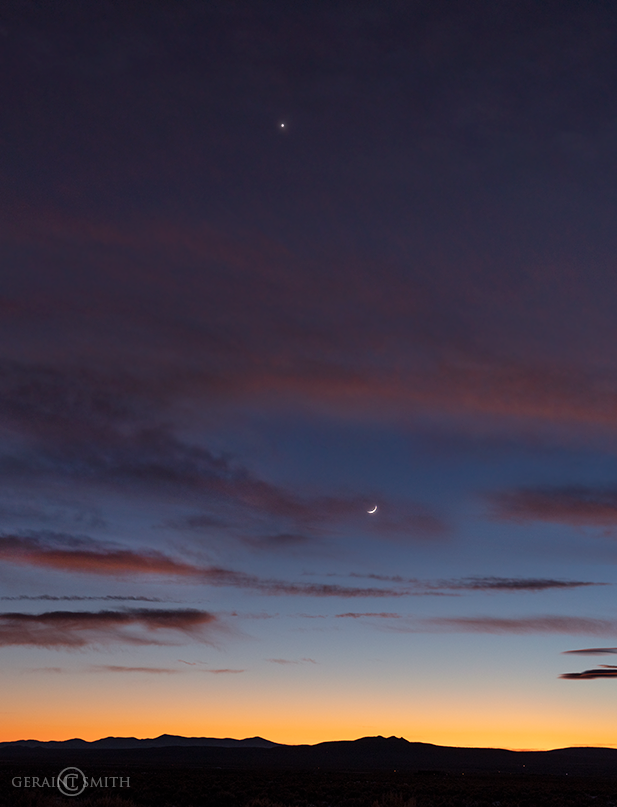 Crescent Moon, Venus, Sunset Sky