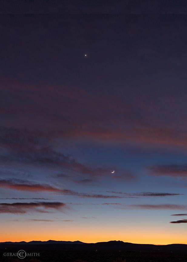 Crescent Moon, Venus, Sunset Sky