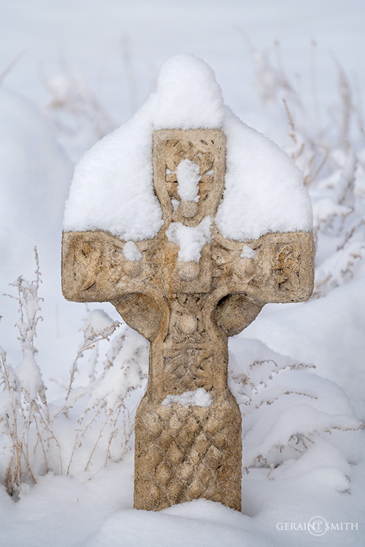 Celtic stone cross, last snowfall, San Cristobal, NM.