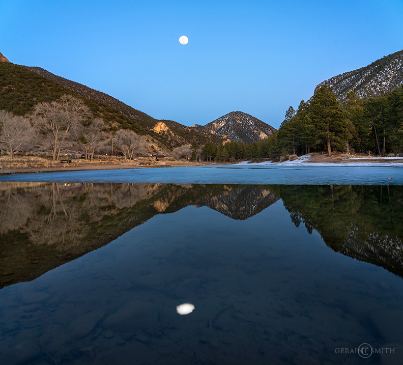 Eagle Rock Lake, Moonrise, Questa, New Mexico.