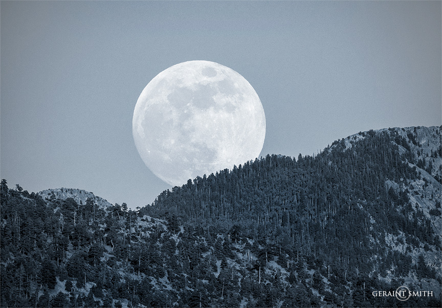 Strawberry Moon rising, Taos Mountains