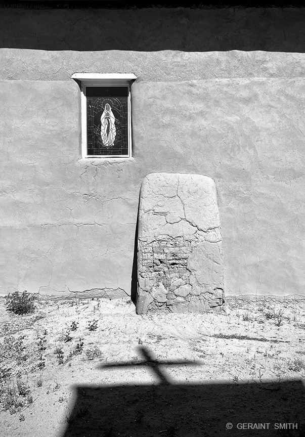 Guadalupe, Shadows, Santa Cruz Chapel, Ojo Caliente, NM
